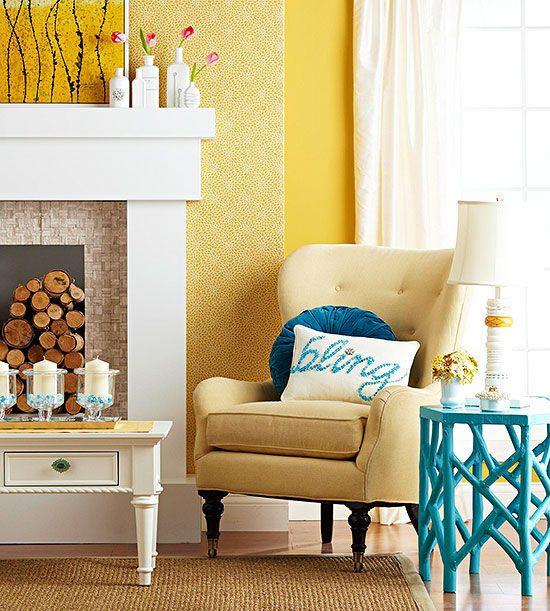 Best 56 Fireplace Interiors: Yellow ideas on Pinterest   Homemade ...