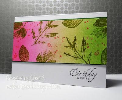 Supplies Used: Stampin Up - French Foliage Tim Holtz Distress Ink Inkduster Stampin Up - Sentiment Bet this would work great with Melon Mambo, Cucumber Crush and Daffodil Delight or Crushed Curry!