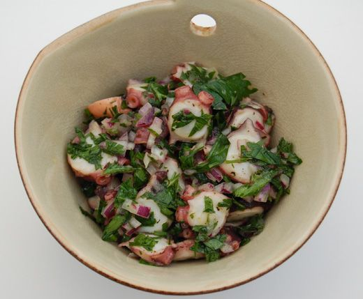 Now that you have done the hard part of cooking the octopus as shown in my post here, here's the simple salad. It can be eaten as part of other dishes in a tapas style meal. It's often eaten with new potatoes. Once it's dressed like this it can be [click to continue...]