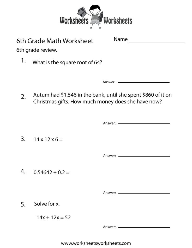 Gratifying image with 6th grade math tests printable