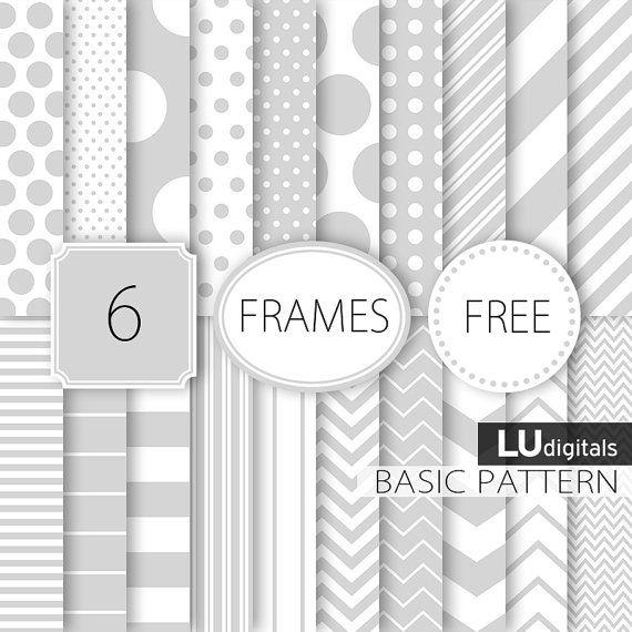 Suministro de papel digital básico gris gris blanco por LUdigitals