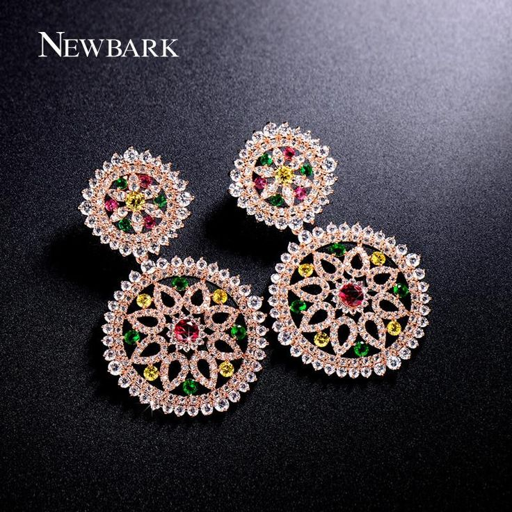 NEWBARK Vintage Boho Drop Earrings Round Shape With Hollow Flower Earring Shinny Multi Color Crystal Statement Jewelry
