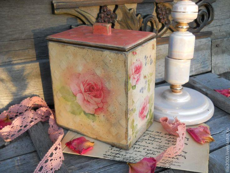 Купить Короб в стиле шебби Нежность - бледно-розовый, короб, короб под сыпучее, роза