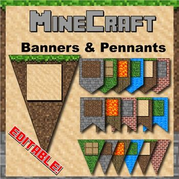 Minecraft Themed Banners - Editable! Keywords: minecraft, mine craft, water, lava, wood, stone, sand, dirt, grass, block, theme, themed, bulletin board, letters, numbers, symbols, characters, uppercase, lowercase, presentation, party, theme, classroom decoration, cut out, writing, algebra, printable, manipulatives, alphabet, flashcards, color, pack, search, pattern, design, zebra, www.zisforzebra.com, pennant, bunting, editable, edit, font