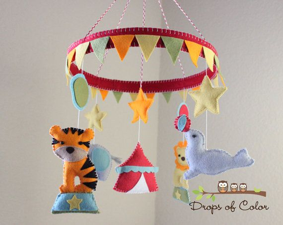 """Baby Crib Mobile - Baby Mobile - Circus Mobile -  Animals in the Circus """"The big tent and the circus"""" (You can pick your colors)"""