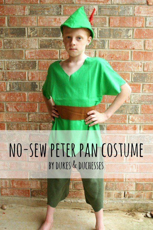 a no-sew peter pan costume that can be made in just a few minutes