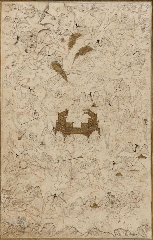 Ascension of Solomon early 16th century Safavid period Ink, color, and gold on paper Tabriz, Iran