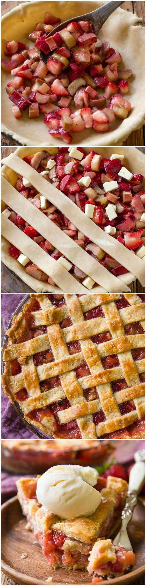 Learn how to make strawberry rhubarb pie that holds its shape! Along with the flakiest, most buttery perfect homemade pie crust recipe! sallysbakingaddiction.com