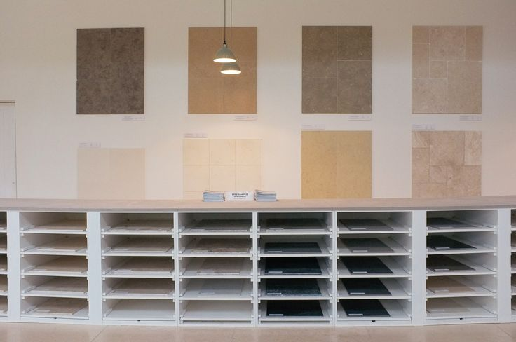 Some of our natural stone and porcelain displays, here at Cotes Mill