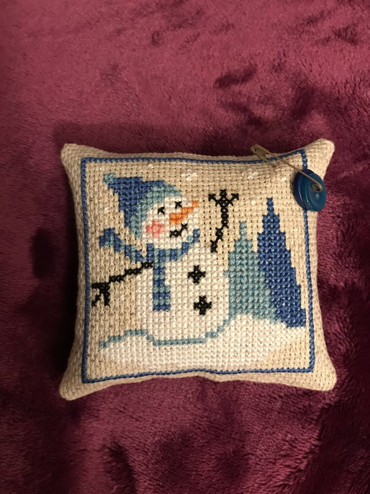 A personal favorite from my Etsy shop https://www.etsy.com/listing/551729568/finished-cross-stitch-snowman-christmas