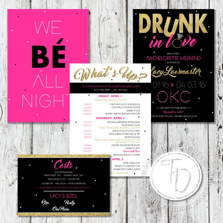 bachelorette invitation and itinerary by Trusner Designs These are adorable!!! Love this theme! Shop owner is so great to work with! Check her out!!!!