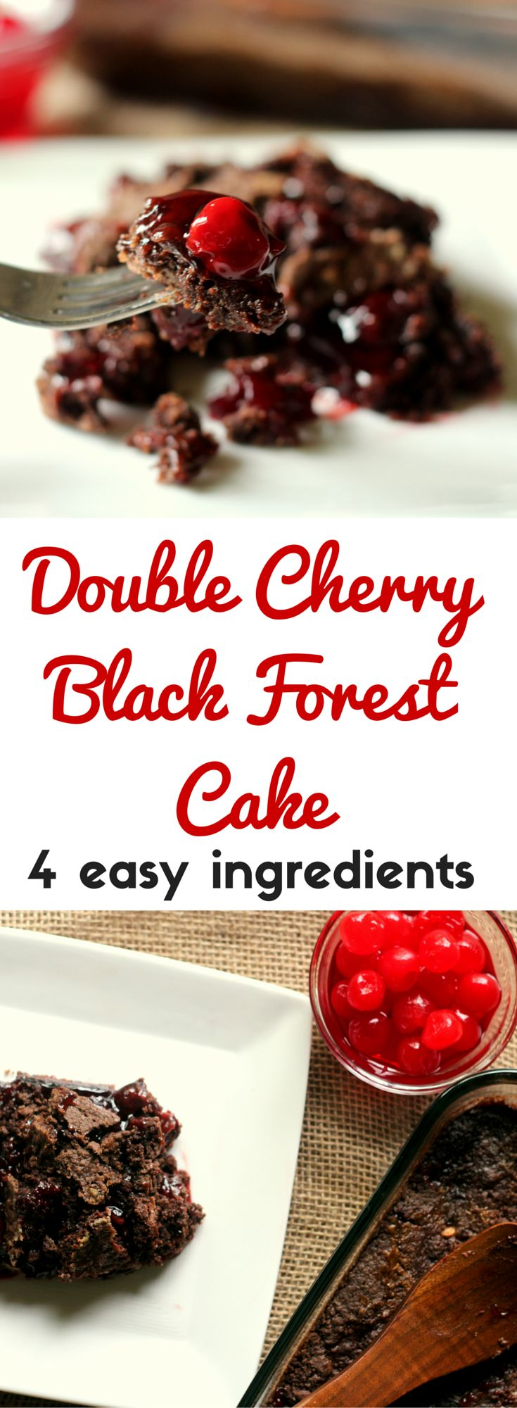 This is the EASIEST dump cake! Just four ingredients, super gooey chocolate cherry cake! Great Valentine's Day dessert.