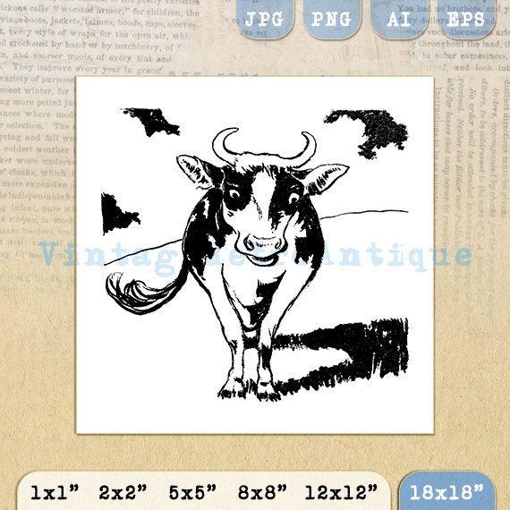 Digital Graphic Cow Image Farm Animal by VintageRetroAntique