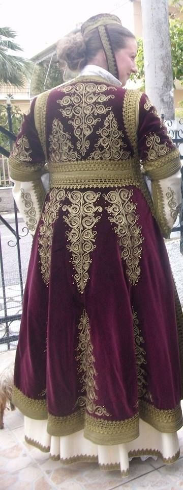 Greek festive costume with 'Pirpiri' overcoat. From Ioannina. Clothing style: early 20th century. (Workshop of traditional costumes of Zoe Stelios, Mesolóngi, Greece).