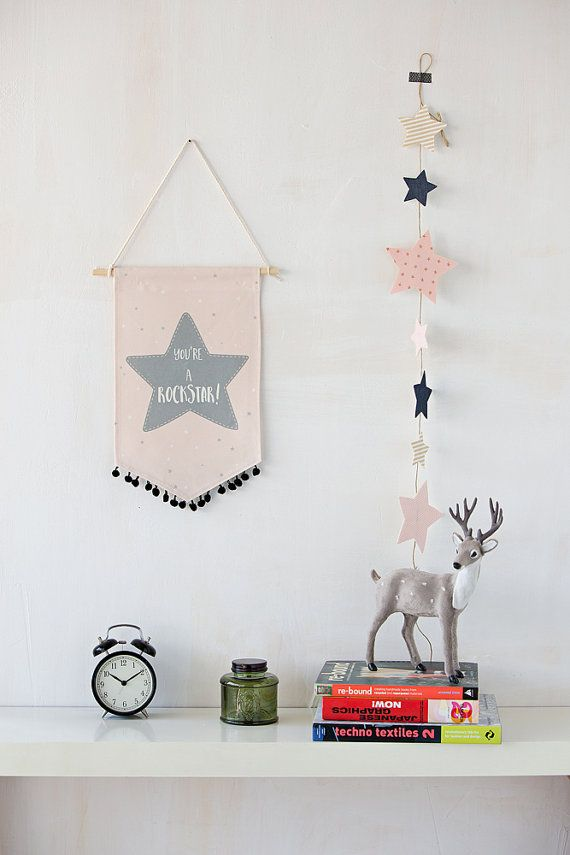 Fabric wall banner, wall hanging flag, pink star wall hanging. Girls room decor in pink and gray Youre a Rockstar typography print for your little girls