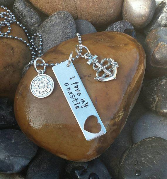 Coast Guard Necklace - I Love My Coastie Necklace, I Love My USCG, Coast Guard Jewelry, Coast Guard Wife Necklace, Coast Guard Wife Jewelry