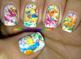 Idea for Color Run - Sabrina's Nail Blog The Color Run nails colorful rainbow splatter