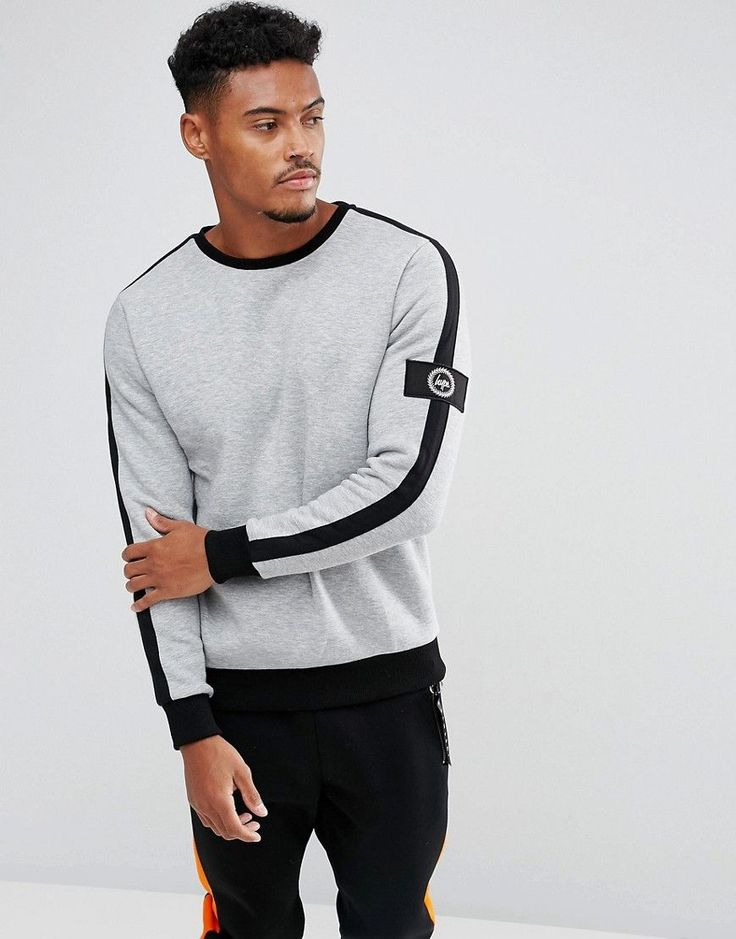 Hype Sweatshirt In Gray With Stripe And Sleeve Patch - Gray