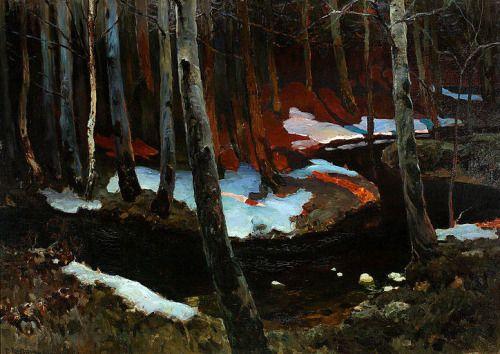Ferdynand Ruszczyc 1870-1936 (Polish), Forest brook,