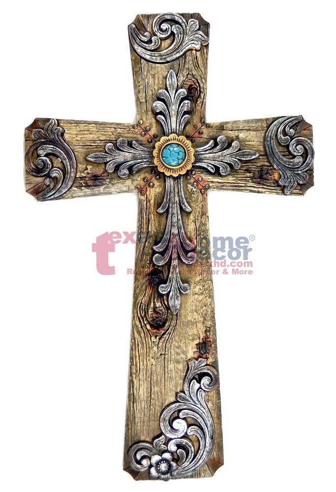 Turquoise Wall Cross Decorative Layered Wood Look Silver