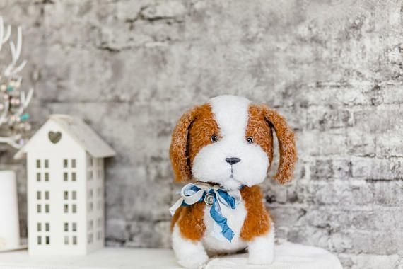 Cute #Crochet beagle. The #beagle plush #toy is handmade toys. Stuffed puppy beagle in Brown and White color, fluffy wool. The pet knit in style amigurumi (crochet animals). T... #etsy #crochet #animal #knit #handmade #gift