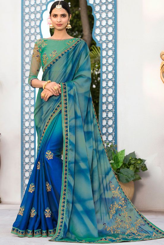cffddd5dcf6da Charming Royal Blue and Moss Green Saree