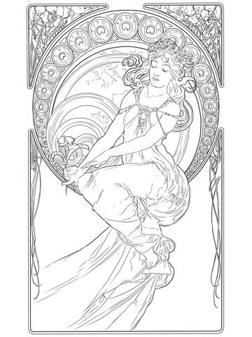 Painting by Alphonse Mucha coloring page from Alphonse