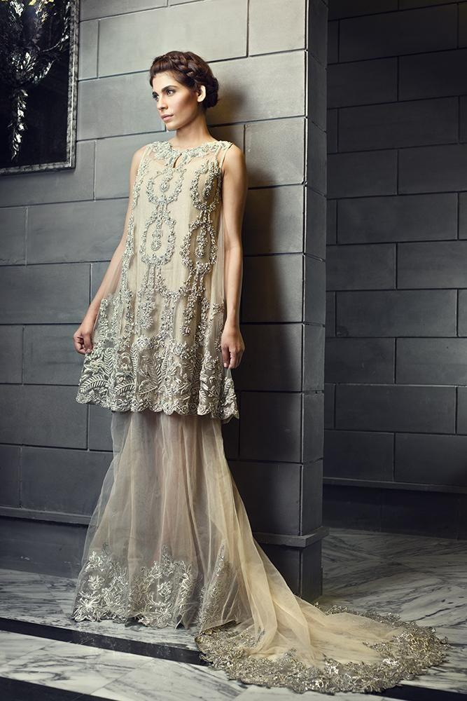 64da925027e Ivory and silver Pakistani semi formal dress by Ammara Khan officials springcollection   spring  readytowear  pretwear  unstitched  online  linen ...