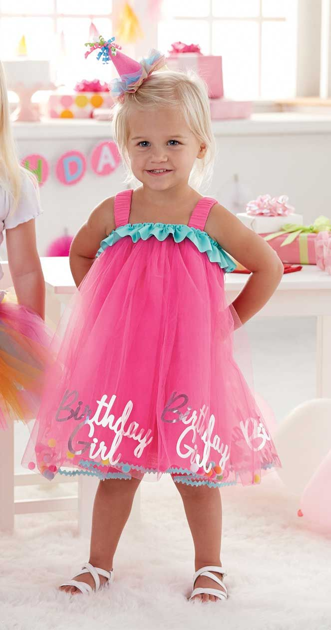 Sure to be a stand out hit at her birthday party this pink Birthday Girl Tulle Dress from Mud Pie is the perfect choice for her special day!  A one size fits most design is meant to best fit girls from 18m to 2T.