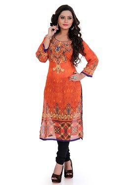 Kurtis,Admyrin,Orange Georgette Digital Printed Kurti