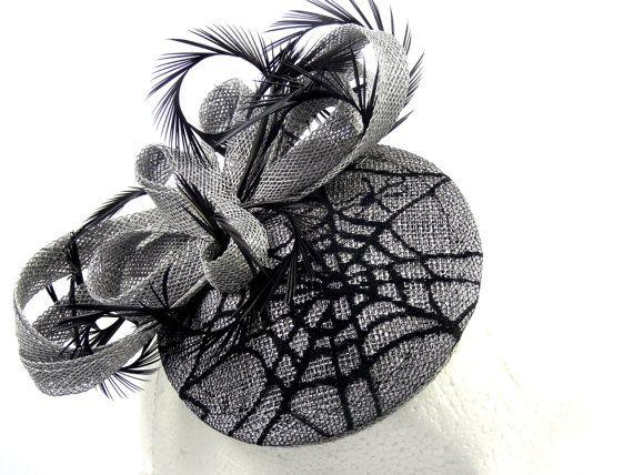 Black and silver fascinator spiderweb by SpiritofHarlequin on Etsy
