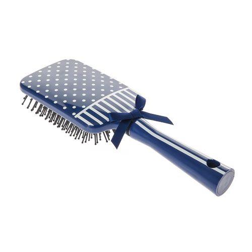 Navy Polka Dot Stripe Paddle Brush