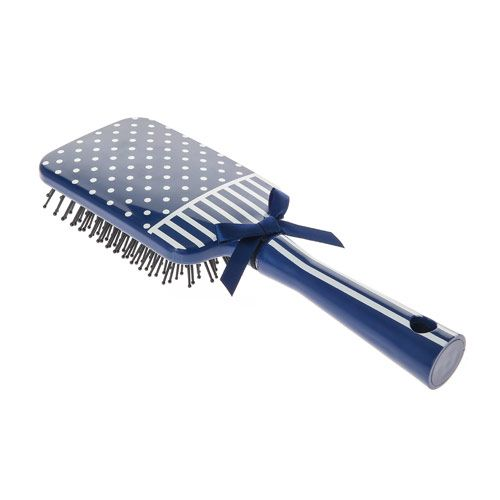Navy Polka Dot Stripe Paddle Brush