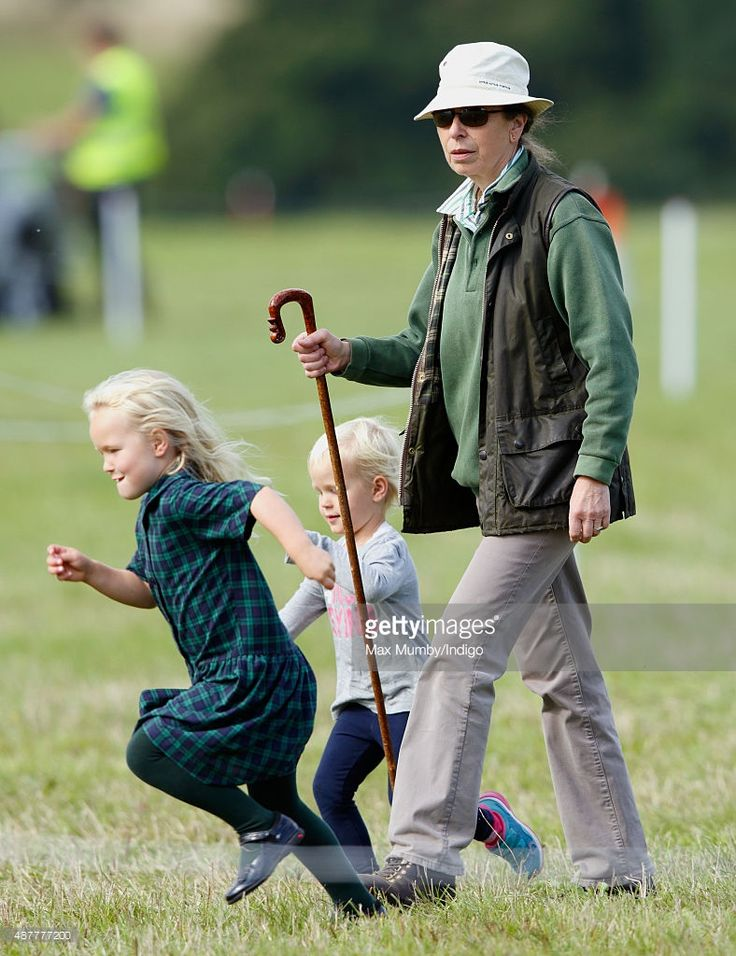 Princess Anne, The Princess Royal and her grandchildren Savannah Phillips and Isla Phillips attend the Whatley Manor International Horse Trials at Gatcombe Park on September 11, 2015 in Stroud, England.