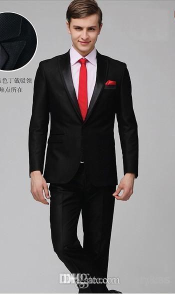 Custom Cheap Bright Black Handsome Groomsmen Tuxedos Wedding Groom Wear Dress Bridegroom Prom Clothing Party Men's Suit from Darrykiss,$84.15 | DHgate.com