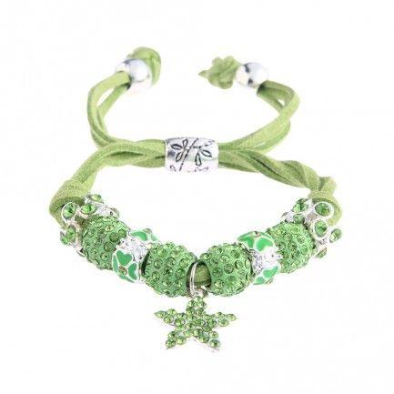 Shamballa zelený náramek s hvězdou LS Fashion LSB0037 - Kliknutím zobrazíte detail obrázku.