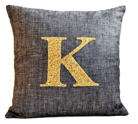 Gray pillow Monogram Pillows Personalized throw by AmoreBeaute