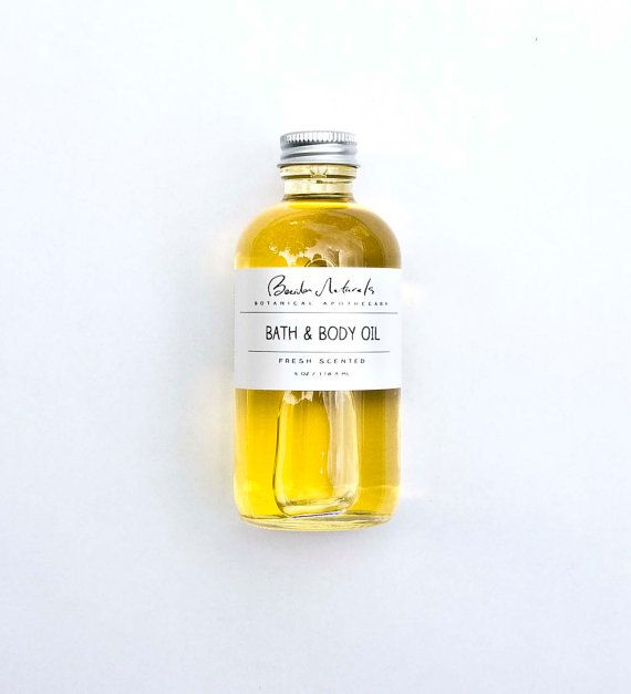 Bath & Body Oil. Fresh Scented. 100% Natural. Medium 4 oz. Massage Oil. Vegan.