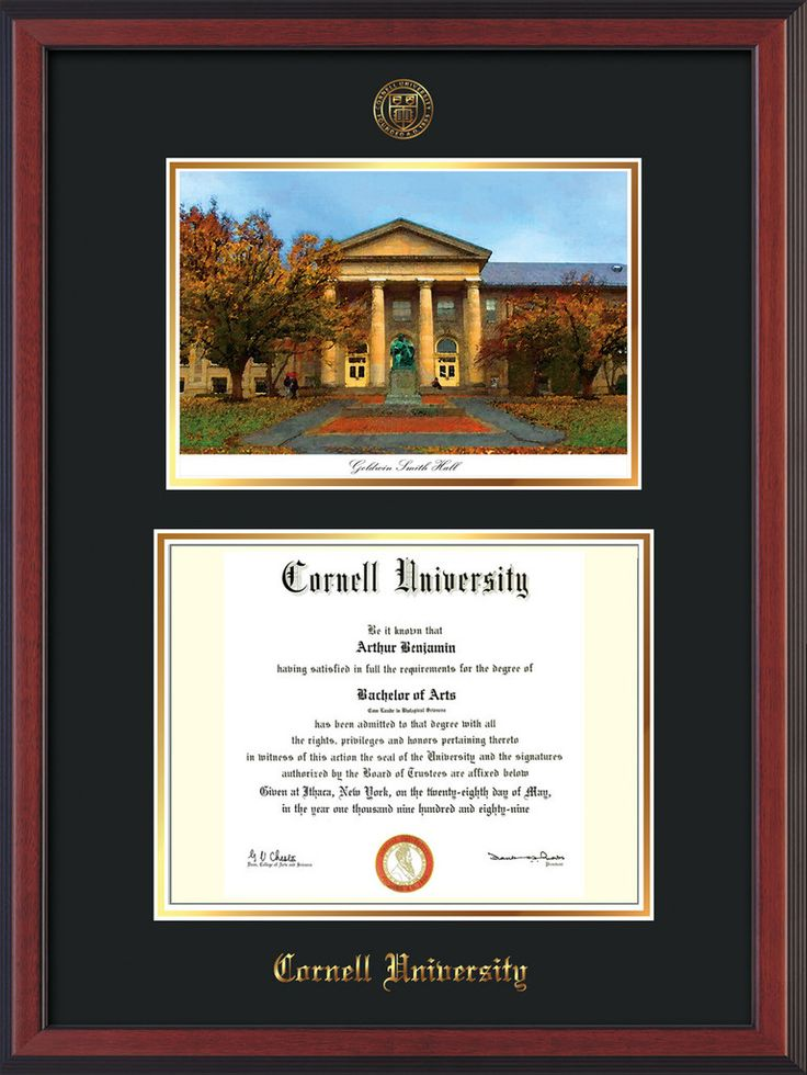 Cornell U Diploma Frame-Cherry Reverse-Goldwin Photo-Black on Gold mat – Professional Framing Company