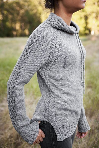 Wow, love this look! This cabled, drawstring pullover is called Harley and is part of the Knit Picks Twist & Tweeds 2015 Fall Collection.