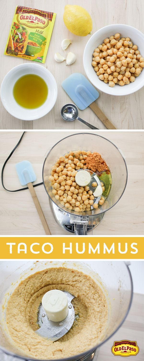 Craving a unique snack? Try this Taco Hummus! Add Old El Paso Taco Seasoning. chickpeas. olive oil. garlic and lemon in your food processor. and voila! Flavorful hummus in under 10 minutes!