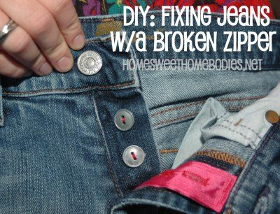 Creating a button fly to fix jeans with a broken zipper.