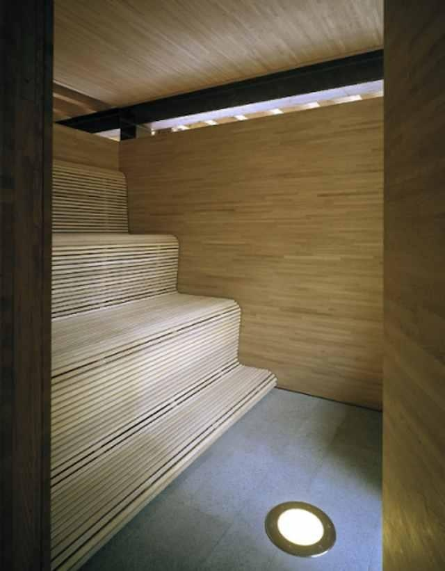 thin wood slats / bench / sauna