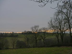 Heart of England Way in the Cotswolds: Sunset at the end of the day's walk