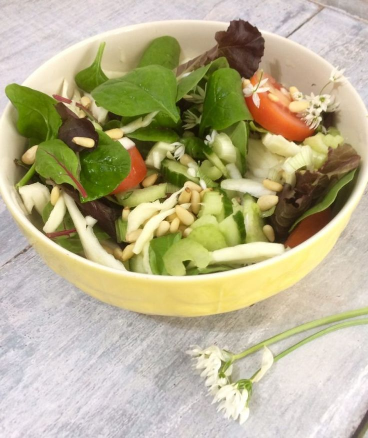 Wild Garlic, Pear and Pine Nut Salad Seasonal Spring Salad perfect for Vegetarians