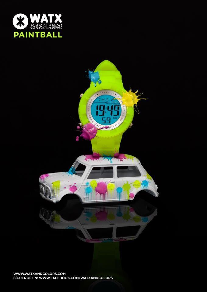 WATX & COLORS Paintball (amarillo neón): Relojes de colores tendencia con esferas y correas intercambiables. ¡Más de 100 combinaciones diferentes para estrenar reloj cada día!