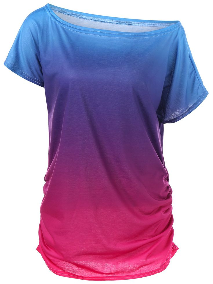 Ombre Ruched Skew Neck T-Shirt - BLUE M