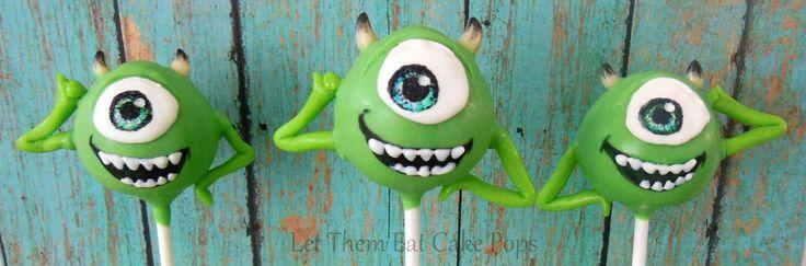 """Mike Wasowski bolo estala para Monsters Inc - O bolo estala por """"Let Them Eat Cake Pops"""" tutorial sobre PintSizedBaker.com #cakepops #MonstersInc"""