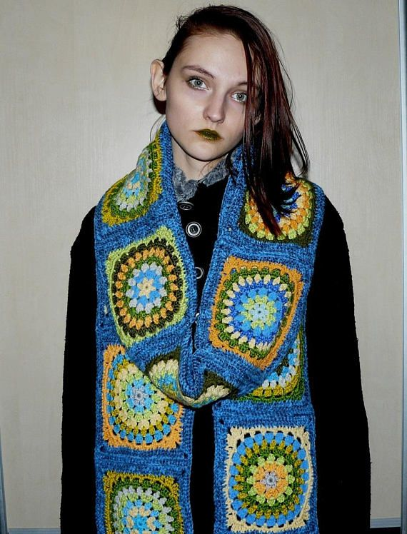 Extra long scarf Oversized scarf wrap Crochet Granny square