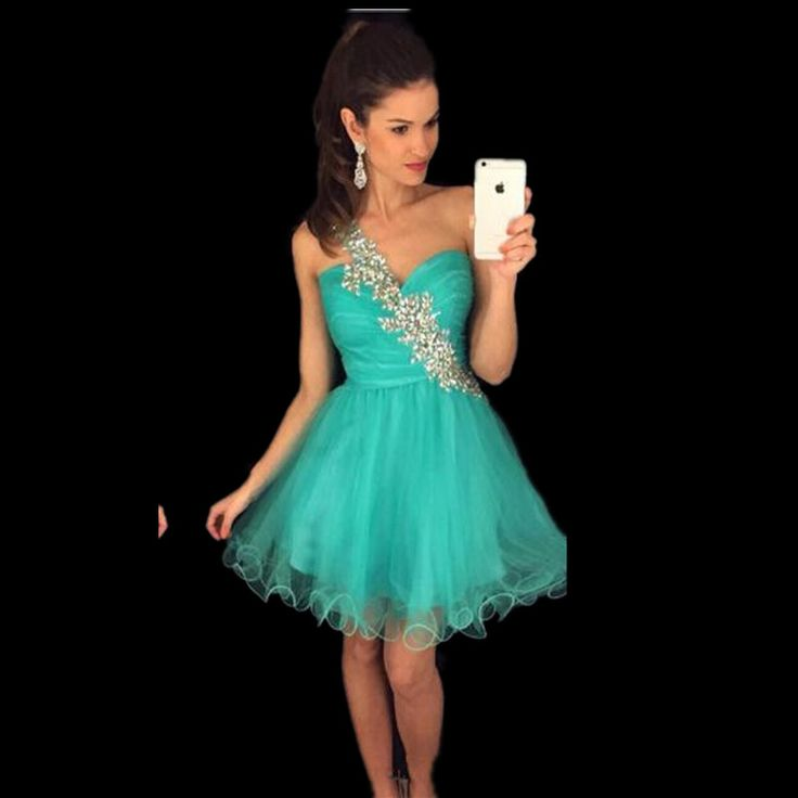 Turquoise Homecoming Dresses One Shoulder Beaded Short Formal Graduation Wear Dress Pleats 8th Grade Sweet 15 Short Party Gown